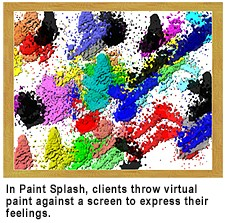 "SAT activities such as ""Paint Splash"" invite the client to throw paint (conceptually) against a screen, giving the therapists an understanding of the client's feelings."